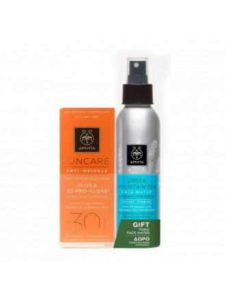 APIVITA SUNCARE ANTI-WRINKLE FACE CREAM OLIVE & 3D PRO-ALGAE SPF30 50ML & GREEK MOUNTAIN FACE WATER 100ML