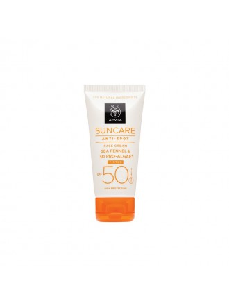 APIVITA SUNCARE ANTI-SPOT FACE CREAM TINTED SEA FENNEL & 3D PRO-AGE SPF50 50ML