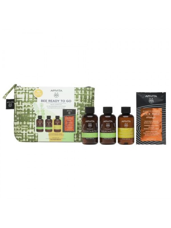 APIVITA PROMO BEE READY TO GO TRAVEL ESSENTIALS ΜΕ TONIC MOUNTAIN TEA SHOWER GEL 75ML & TONIC MOUNTAIN TEA BODY MILK 75ML & GENTLE DAILY SHAMPOO CHAMOMILE & HONEY 75ML & HAIR MASK ORANGE SHINE & REVITALIZING 20ML
