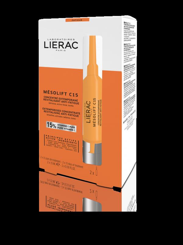 Lierac Mesolift C15 Extemporised Concentrate Revitalizing Anti-Fatigue για Λάμψη, Λείανση & Βελτίωση Όψης της Επιδερμίδας, 2x15ml