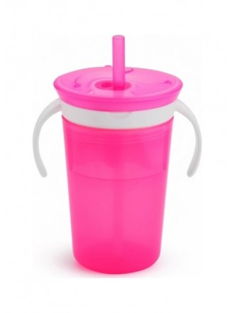 MUNCHKIN SNACK CATCH & SIP 2 IN 1 SNACK CATCHER AND SPILL PROOF CUP PINK