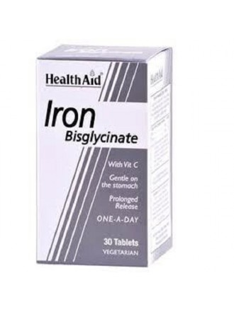 HEALTH AID IRON BISGLYCINATE (IRON WITH VITAMIN C) TABLETS 30'S