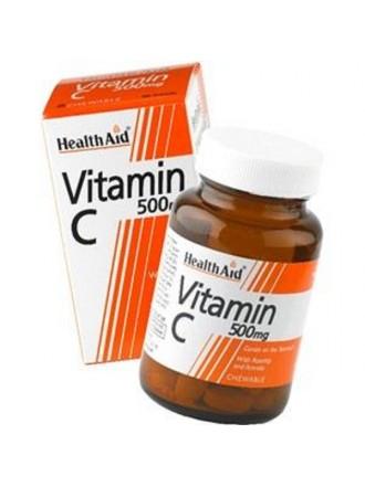 HEALTH AID VITAMIN C 500MG CHEWABLE ORANGE FLAVOUR TABLETS 60'S